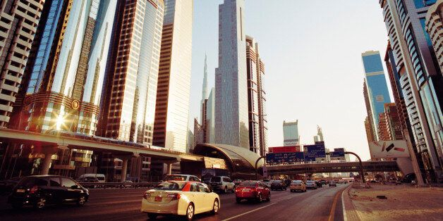 UAE,Dubai,Downtown Dubai,Financial District,busy road network and Metro line along Sheikh Zayed Road...