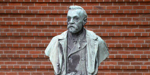 A statue featuring Swedish inventor of dynamite Alfred Nobel is seen outside the Karolinska Institutet...