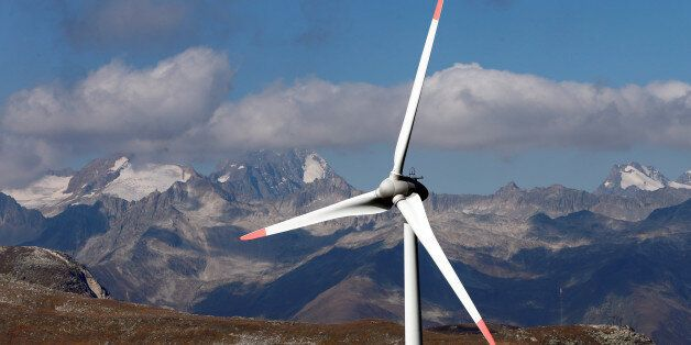 Wind turbines are pictured at Swisswinds farm, Europe's highest wind farm at 2500m, before the topping...