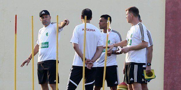 Algeria's coach Milovan Rajevac during training the Algerian national football team in Sidi Moussa Technical...