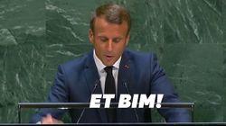 Emmanuel Macron a (encore) maltraité son pupitre pendant son discours à