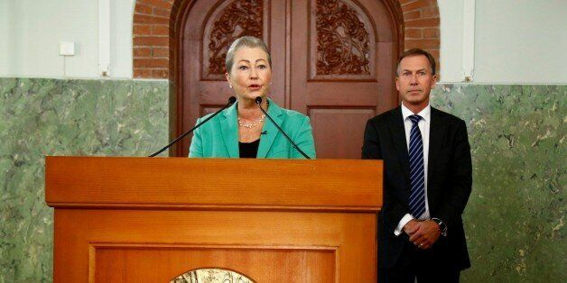Kaci Kullman Five, chairman of the Nobel Peace Prize award committee, announces that Colombian President...