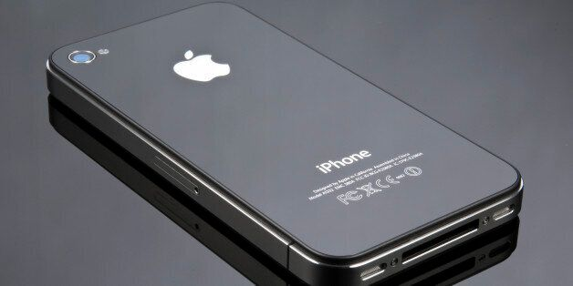 Apple's iPhone 4 shot in a studio on a reflective background, June 24, 2010. (Photo by Will Ireland/T3...