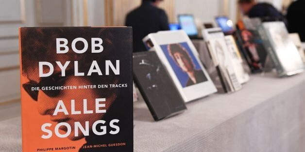 Books by US songwriter Bob Dylan who was announced the laureate of the 2016 Nobel Prize in Literature...