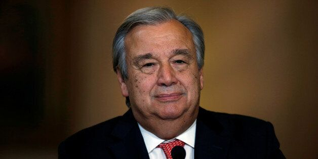 Nominated U.N. Secretary-General Antonio Guterres attends a news conference at Necessidades Palace in...