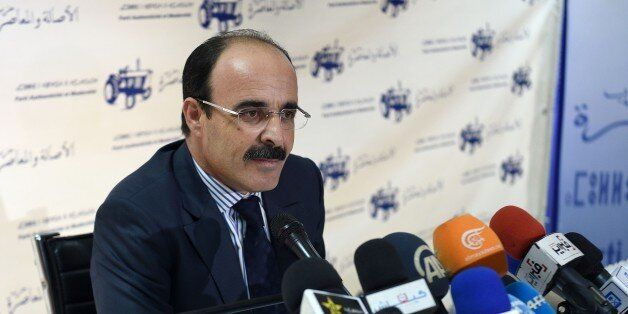 Ilyas el Omari, Vice Secretary General of the Party of Authenticity and Modernity (PAM) speaks during...