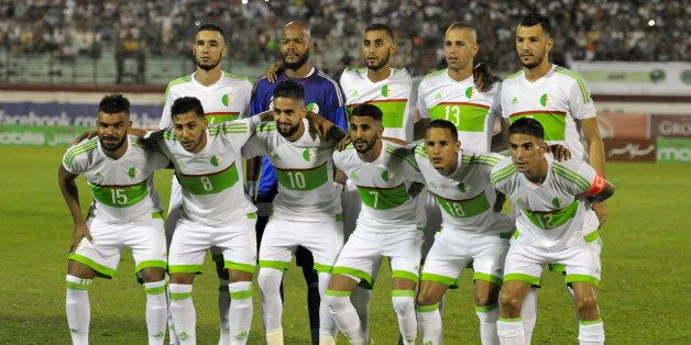 Algerian national football team players pose before their 2017 African Cup of Nations qualifying football...