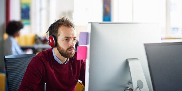 Businessman on computer at office