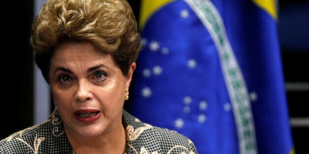 Brazil's suspended President Dilma Rousseff speaks during the final session of debate and voting on Rousseff's...