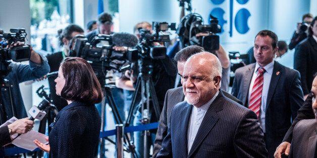 Bijan Namdar Zanganeh, Iran's petroleum minister, center, arrives for the 169th Organization of Petroleum...