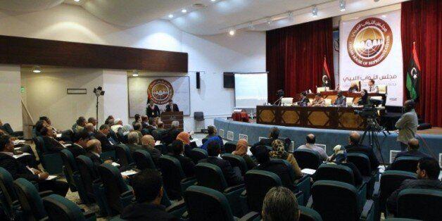 Vue générale sur la salle du parlement libyen à Tobrouk, le 20 février
