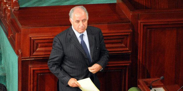 The Governor of the Central Bank of Tunisia Mustapha Kamel Nabli arrives to answers questions to Tunisian...