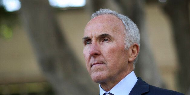 Former Los Angeles Dodgers owner Frank McCourt leaves after testifying in Bryan Stow's civil trial against...