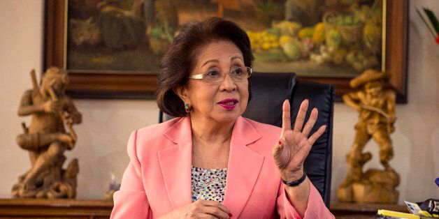 This picture taken on August 23, 2016 shows Philippine Ombudsman Conchita Carpio-Morales gesturing during...
