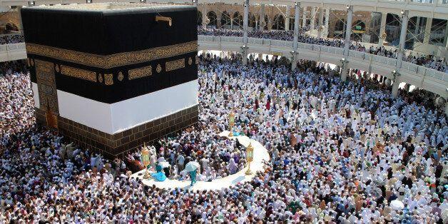 MECCA, SAUDI ARABIA - SEPTEMBER 27: Muslim pilgrims gathering for the annual Hajj pilgrimage circle counterclockwise...