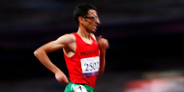 El Amin Chentouf of Morocco runs on his way to winning the Men's 5000m final T12 during the London 2012...