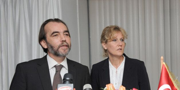 French Minister of Learning and Training, Nadine Morano(R) at a press conference meets with Tunisian...