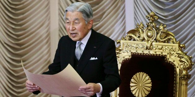 FILE - In this Monday, Aug. 1, 2016, file photo, Japan's Emperor Akihito reads a statement to formally...