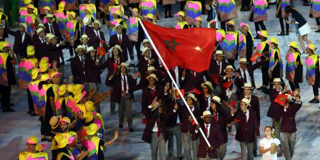 2016 Rio Olympics - Opening ceremony - Maracana - Rio de Janeiro, Brazil - 05/08/2016. Flagbearer Abdelkebir...