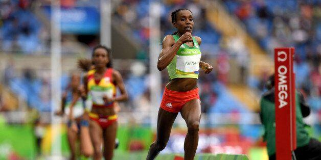 RIO DE JANEIRO, BRAZIL - AUGUST 12: Almaz Ayana of Ethiopia competes in the Women's 10,000 metres final...