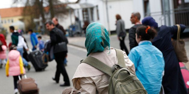 Syrian refugees arrive at the camp for refugees and migrants in Friedland, Germany April 4, 2016. The...