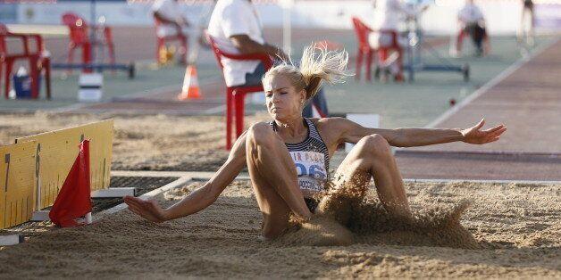 CHEBOKSARY, RUSSIA - JUNE 20, 2016: Athlete Darya Klishina competes in the women's long jump event during...
