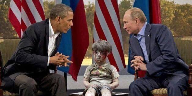 Un photomontage de l'enfant syrien sorti des décombres d'Alep fait le