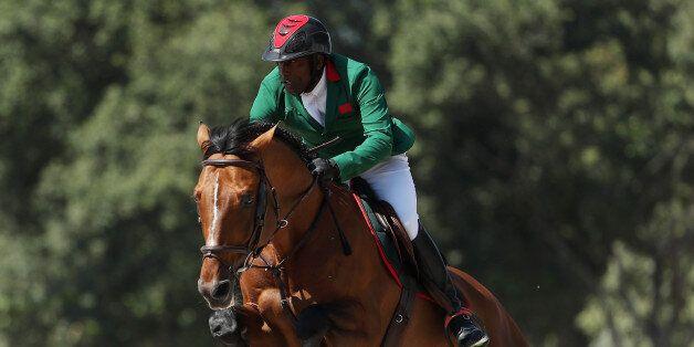 RIO DE JANEIRO, BRAZIL - AUGUST 14: Abdelkebir Ouaddar of Morocco riding Quickly de Kreisker competes...