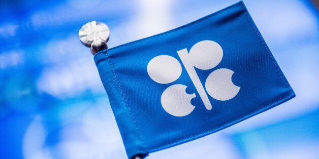 An OPEC branded flag sits on a table ahead of the 169th Organization of Petroleum Exporting Countries...