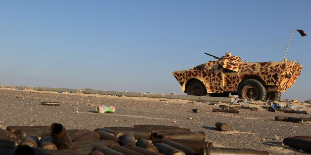 A military vehicle used by fighters from the pro-government forces loyal to Libya's Government of National...
