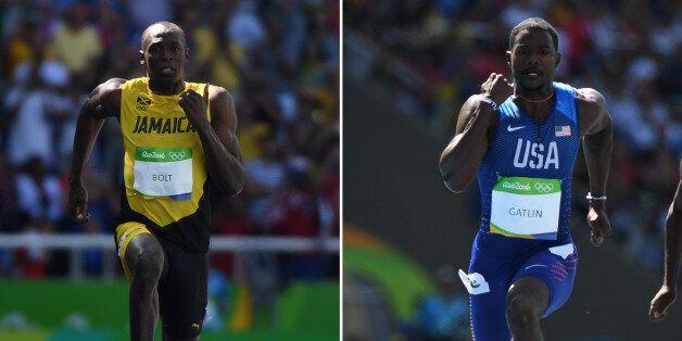 Les sprinteurs Usain Bolt et Justin Gatlin lors des séries du 100 m aux JO de