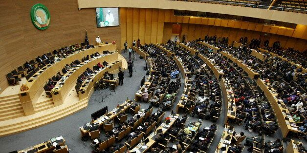 A general view shows Chad's President Idriss Deby addressing delegates during the 26th Ordinary Session...