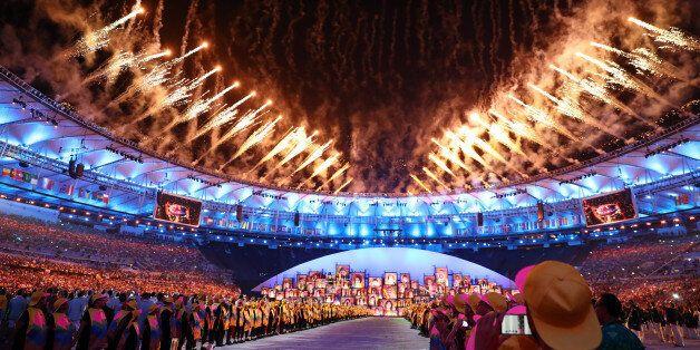 2016 Rio Olympics - Opening ceremony - Maracana - Rio de Janeiro, Brazil - 05/08/2016. Fireworks go off....