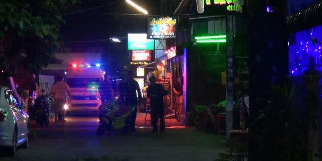 In this screen grab taken from video, emergency services at the scene of a bomb attack, in Hua Hin, Thailand,...