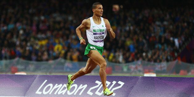Taoufik Makhloufi of Algeria leads the pack in the Men's 1500m Final on Day 11 of the London 2012 Olympic...