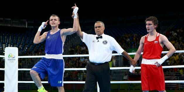 2016 Rio Olympics - Boxing - Preliminary - Men's Light (60kg) Round of 16 Bout 73 - Riocentro - Pavilion...