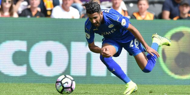 HULL, ENGLAND - AUGUST 13: Riyad Mahrez of Leicester City during the Premier League match between Leicester...