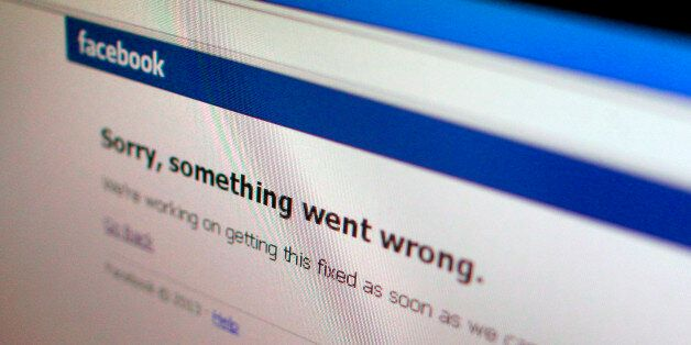 A Facebook error message is seen in this illustration photo of a computer screen in Singapore June 19,...