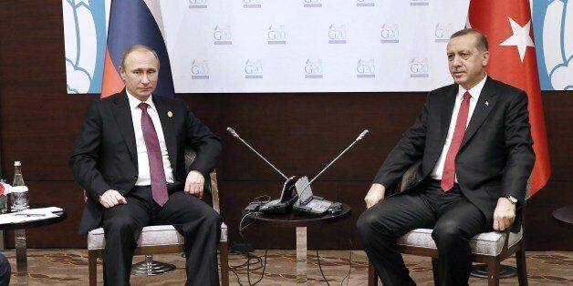 Russian President Vladimir Putin meets with his Turkish counterpart Tayyip Erdogan at the Group of 20...