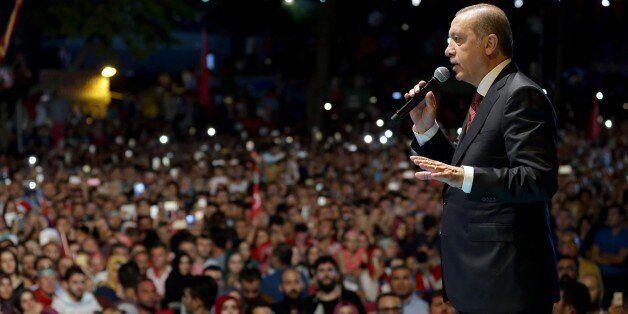 ISTANBUL, TURKEY - JULY 19: Turkish President Recep Tayyip Erdogan addresses the crowd who gathered in...