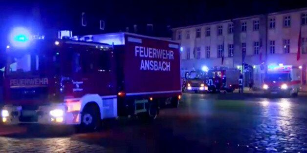 GERMANY OUT - In this image taken from video fire trucks and ambulances stand in the city center of Ansbach...