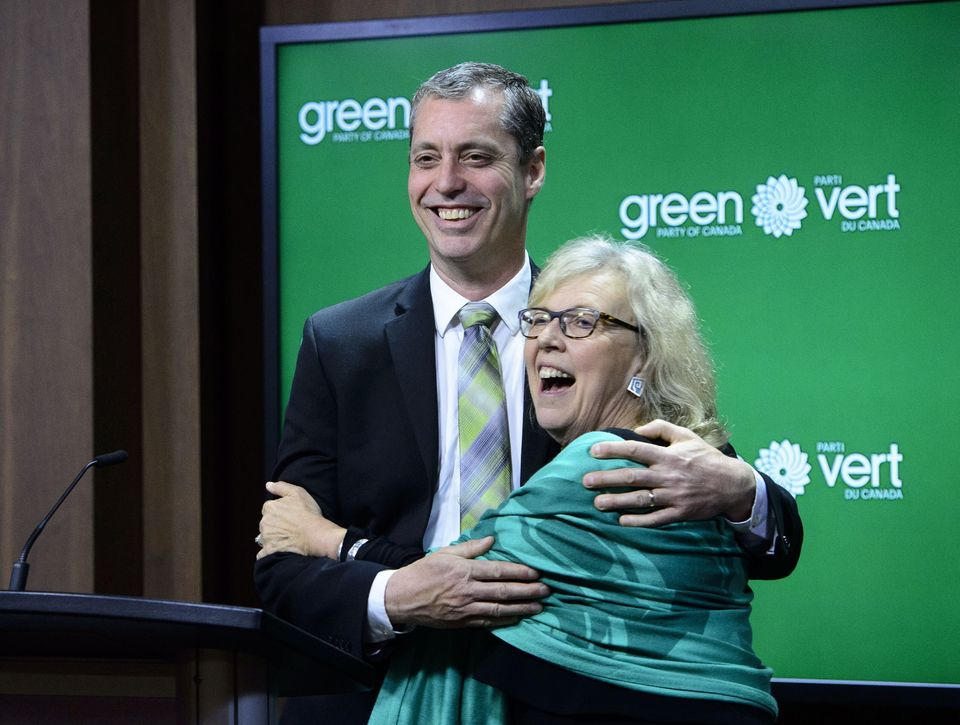 Green Party of Canada leader Elizabeth May introduces newly elected Green MP, Paul Manly, during a press...
