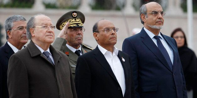 Tunisian Prime Minister Hamadi Jebali (R), President Moncef Marzouki (front C) and President of the Constituent...