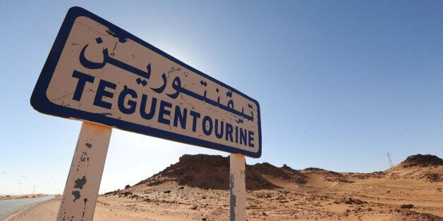 A picture shows a road sign indicating Tiguentourine near In Amenas on a road leading to a gas complex...