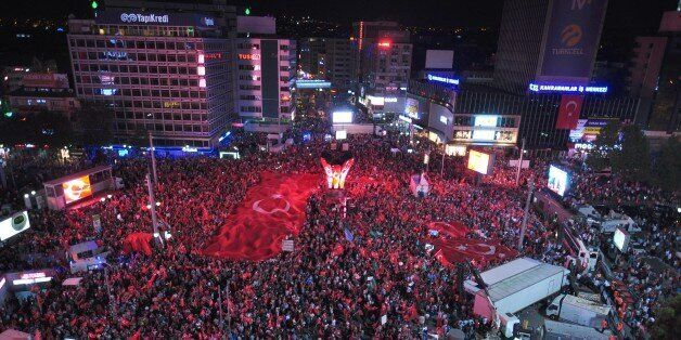 ANKARA,TURKEY - JULY 20: People gather at the Kizilay Square to protest against the Parallel State/Gulenist...