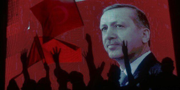 ANKARA, TURKEY - JULY 17: People wait Turkish President Recep Tayyip Erdogan (not seen) at Kizilay square...