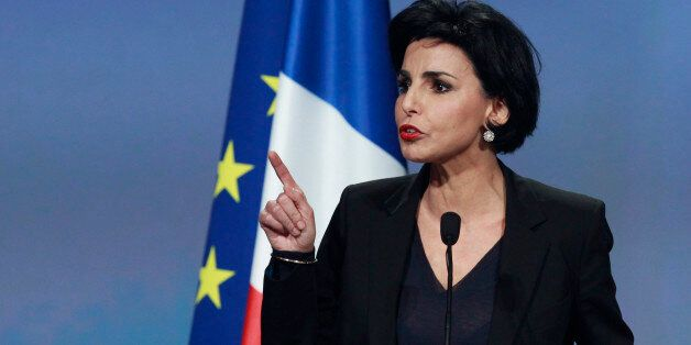 Former Justice Minister Rachida Dati speaks at a political rally for Nicolas Sarkozy, France's President...