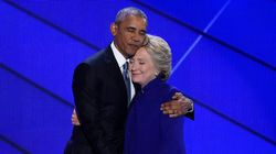 Obama sur scène avec Hillary Clinton à la convention démocrate de