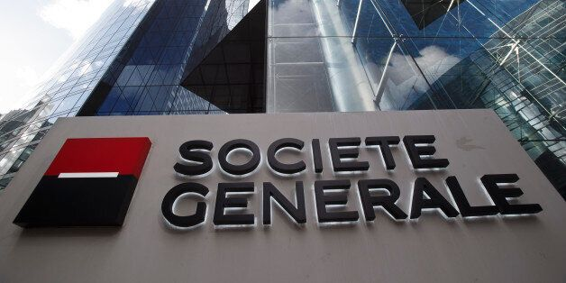 The logo of French bank Societe Generale SA is pictured at the La Defense business district outside Paris,...