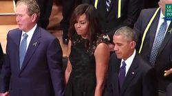Découvrez l'étonnant comportement de George Bush lors de l'hommage aux victimes de